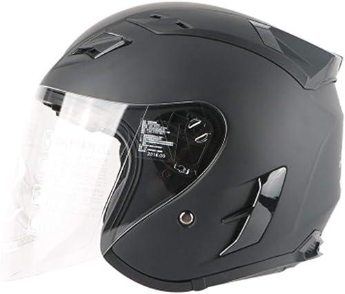 DTVX Casque Moto électrique Harley Half Casque Casque Hommes et Femmes Lunettes de Casque écran Solaire d été L Code (56-57cm)