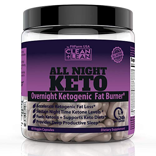 CLEAN+LEAN ALL NIGHT KETO: First Ever Overnight Ketogenic Fat Burner & Sleep Aid | BHB Ketones + MCT Oil + Vitamins & Immunity Complex | 24 HR Diet Sleep Great Lose Weight | All Natural & GF | 60 Caps 1
