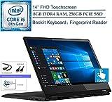 Lenovo Flex 14 2-in-1 14' FHD Touchscreen Laptop Computer, Intel Quad-Core i5-8265U Up to 3.4GHz (Beats i7-7500U), Fingerprint Reader, Windows 10, CUE Accessories (8GB DDR4 RAM, 256GB PCIE SSD)