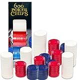 600 Poker Chips Bundle ~ Plastic Poker Chips for Hold Em, 5-Card, and Other Gambling Sports (Poker Chips Set)