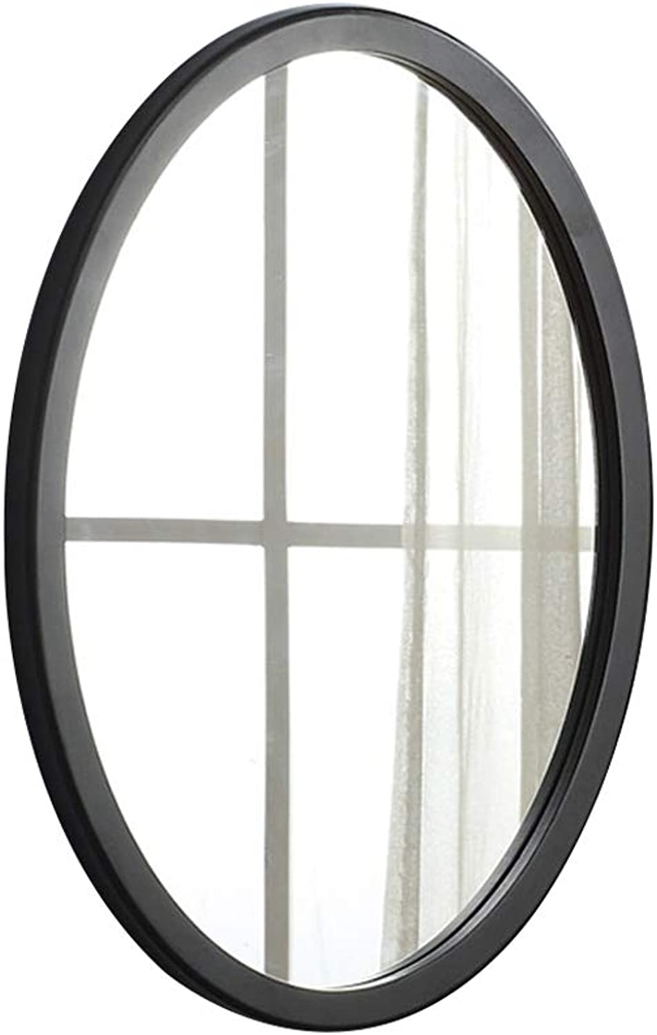 Mirror Elliptical Mirror Wall Mounted Mirror Hanging Makeup Mirror Decorative Hanging Mirror 50  35cm (color   Black-50  35cm)