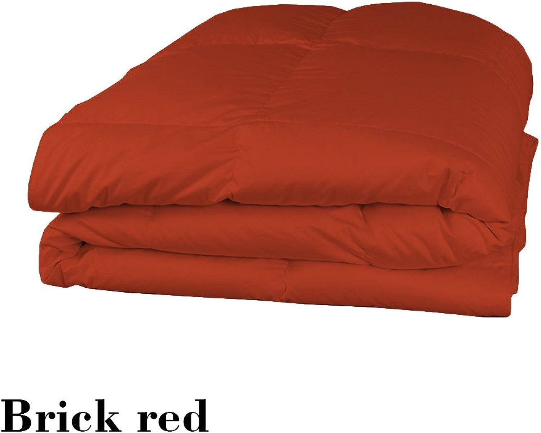 Dreamz Parure de lit Super Doux 600Fils 100% Coton 1Housse de Couette (100g m2 Fibre Fill) UK Super King, Brique Rouge Solide Coton égypcravaten 600tc Doudou