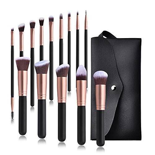 MYYINGELE Premium Ensemble de pinceaux de Maquillage Pinceaux de Maquillage Professionnels 14 pièces Mélange de pinceaux de Fond de Teint synthétique de première qualité Pinceaux Maquillage