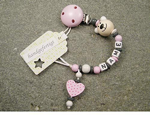 Baby SCHNULLERKETTE mit NAMEN - Schnullerhalter mit Wunschnamen - Mädchen Motiv Bär und Herz in rosa