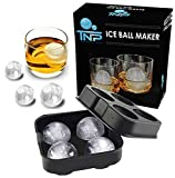 The North Pole Ice Ball Maker Mold, Creates 4 x 4.5 cm Whiskey Ice Balls, Premium Silicone Flexible Tray, Black