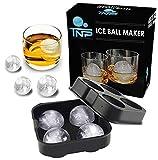 The North Pole Ice Ball Maker Mold, Creates 4 x 4.5 cm Whiskey Ice Balls, Premium Silicone Flexible Tray, Black