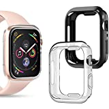 Goton Compatible iWatch Apple Watch Edge Case 40mm SE/Series 6/5 / 4 [No Screen Protector], (2 Packs) Soft TPU Shockproof Edge Case Cover Bumper Protector (Black and Clear, 40mm)