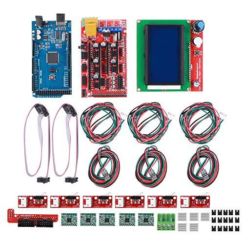 Fdit Accesorios de Impresora 3D, Kit de Impresora 3D RAMPS 1.4 Board, Mega2560 CH340 Board, 12864 Smart Display Controller, A4988 Chip Board para Arduino Reprap