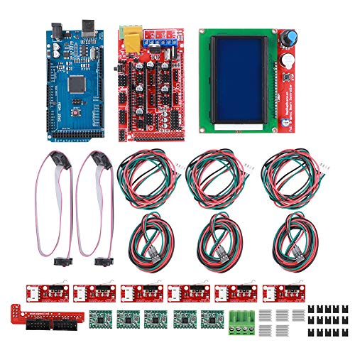 Fdit 3D Printer Accessories, 3D Printer Kit RAMPS 1.4 Board, Mega2560 CH340 Board, 12864 Smart Display Controller, A4988 Chip Board for Arduino Reprap