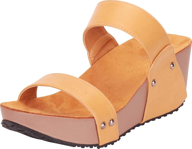 Cambridge Select Women's Open Toe Two Strap Chunky Platform Wedge Slide Sandal