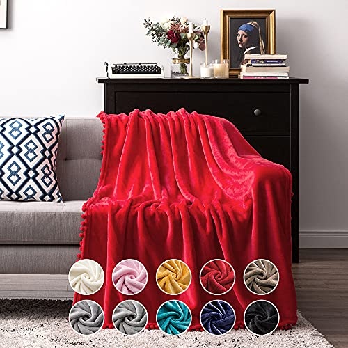 MIULEE Manta Blanket Terciopelo Grande para Sófas Mantilla de Franela para Siesta Súper Suave Manta para Cama Ligera y Cálida Felpa para Mascota Cama Habitacion Dormitorio 1 Pieza 170x210cm Rojo