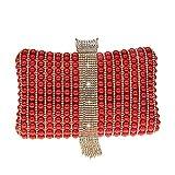 L-sister Pequeñas bolsas de embrague para mujer, bolso de embrague de noche, cartera de perlas, bolso de embrague y bolso de mano, cadena de hombro, estilo único (color: rojo, tamaño: A)