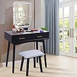 WIUANG Tocador con taburete e iluminación ajustable, tocador con espejo grande Em sin marco,...