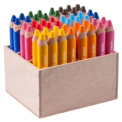 EDU3 Buntstifte Farbstifte edu³ Prime Super Jumbo Dreikantgriff, Holzaufsteller mit 48 Stiften