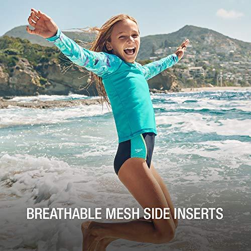 Speedo girls Swimsuit One Piece Mesh Splice Thick Strap,Electric Purple,16