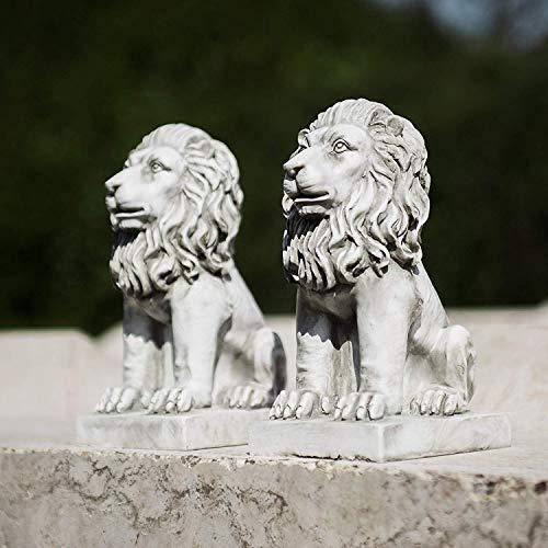 Homezone 2 Stück Steineffekt Harz Sitzen Löwen Tiere Garten Verzierungen Handgefertigt Skulpturen Rasen Statuen Antik Dekor Wildtiere Skulpturen