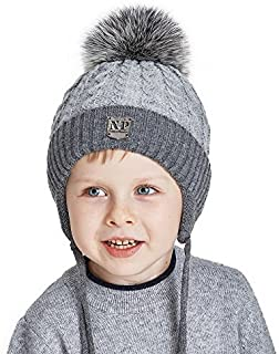 3825a22ddd2 Toddler Winter Beanies Hats for Kids Boys Knit Beanie with Real Fox Fur Pom  Pom