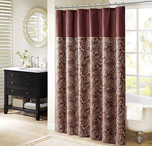 "Madison Park Aubrey Shower Curtain Paisley Jacquard Pieced Microfiber Faux Silk Modern Home Bathroom Decorations Bathtub Privacy Screen, 72"" x 72"", Burgundy"
