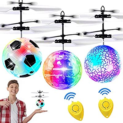 3 Pack Kids Flying Ball RC Toys, Holiday Toy List for Boys Girls Age 6-14 Hand Operated Light Up Recharge Drones Infrared Induction Helicopter Remote Controller Indoor Outdoor Sports Christmas Gift from iGeeKid