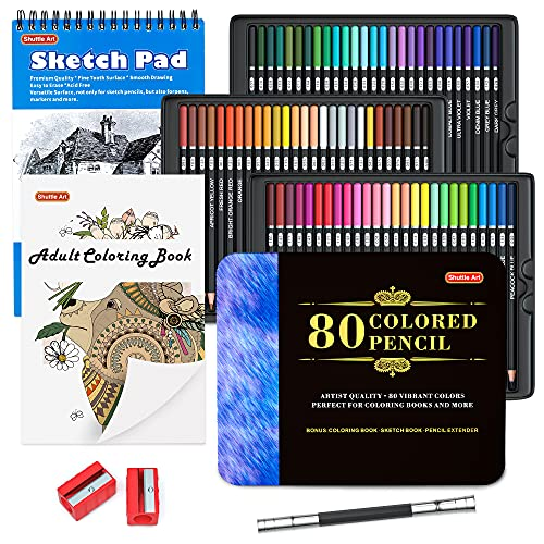 new coloring pencils for adults 80 Colored Pencils, Shuttle Art Soft Core Coloring Pencils with Coloring Book, Sketch Pad and Sharpener, Premium Color Pencils for Adult Coloring, Sketching and Drawing, Art Supplies for Kids & Adults