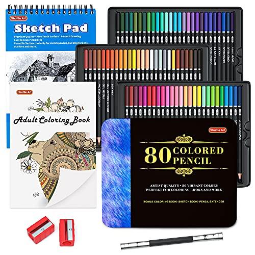 80 Colours Professional Colouring Pencils, Shuttle Art Soft Core Coloured Pencil...