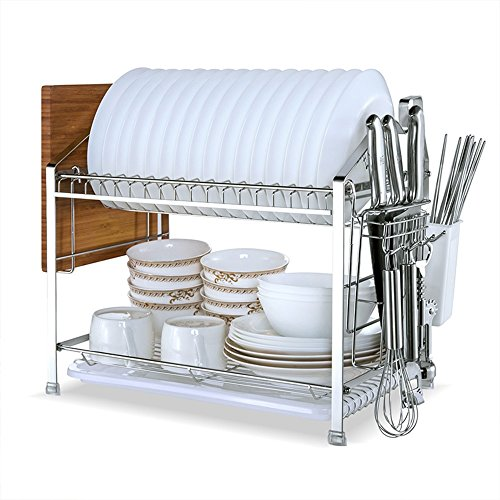 XUQIANG Edelstahl-Abtropfgestell Doppelablass-Abtropfbrett Küchengestell Aufbewahrungsgeschirrgestell 52 X 25,5 X 20CM Küche Lager