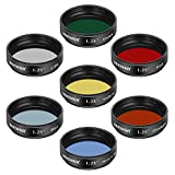 Neewer 1.25 inches Telescope Moon Filter, CPL Filter, 5 Color Filters Set(Red, Orange, Yellow, Green, Blue), Eyepieces Filters for Enhancing Definition and Resolution in Lunar Planetary Observation