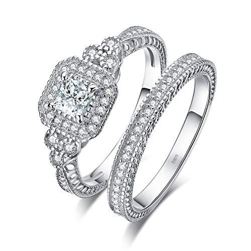 JewelryPalace Anillo Compromiso Corte princesa Zirconia cúbica Para mujeres Boda Promesa Aniversario Conjuntos nupciales de canal Plata de ley 925