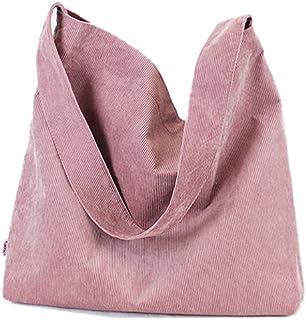 Howoo Damen Cord Retro Mode Schultertasche Beiläufig Handtasche Einkaufstasche Rosa