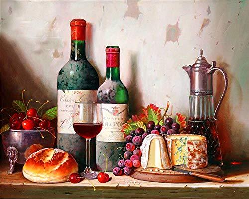 FBDBGRF Dipingi per Numero UVA da Vino Rosso Kit Fai da Te, Tela (40 Cm X 50 Cm) Pittura A Olio Acrilica per Disegnare Principianti E Bambini (Senza Cornice)