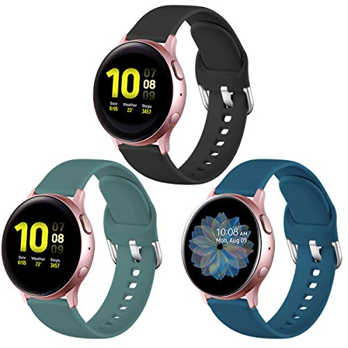 Lerobo for Samsung Galaxy Active 2 Watch Band/Galaxy Watch 3 41mm Band/Galaxy Watch 42mm Bands, 20mm Silicone Watch Band with Quick Release Pins for Gizmo Watch,Galaxy Watch Active,3Pack,Small