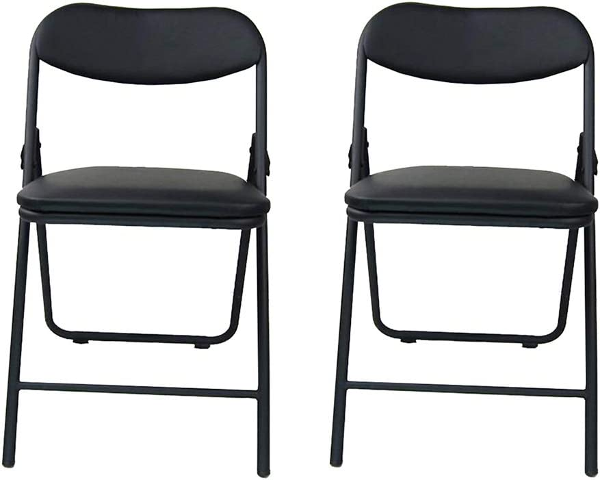 YCSD Pack Courier shipping free shipping Shipping included of 2,Black PU Chairs Cushioned Leather Folding Co