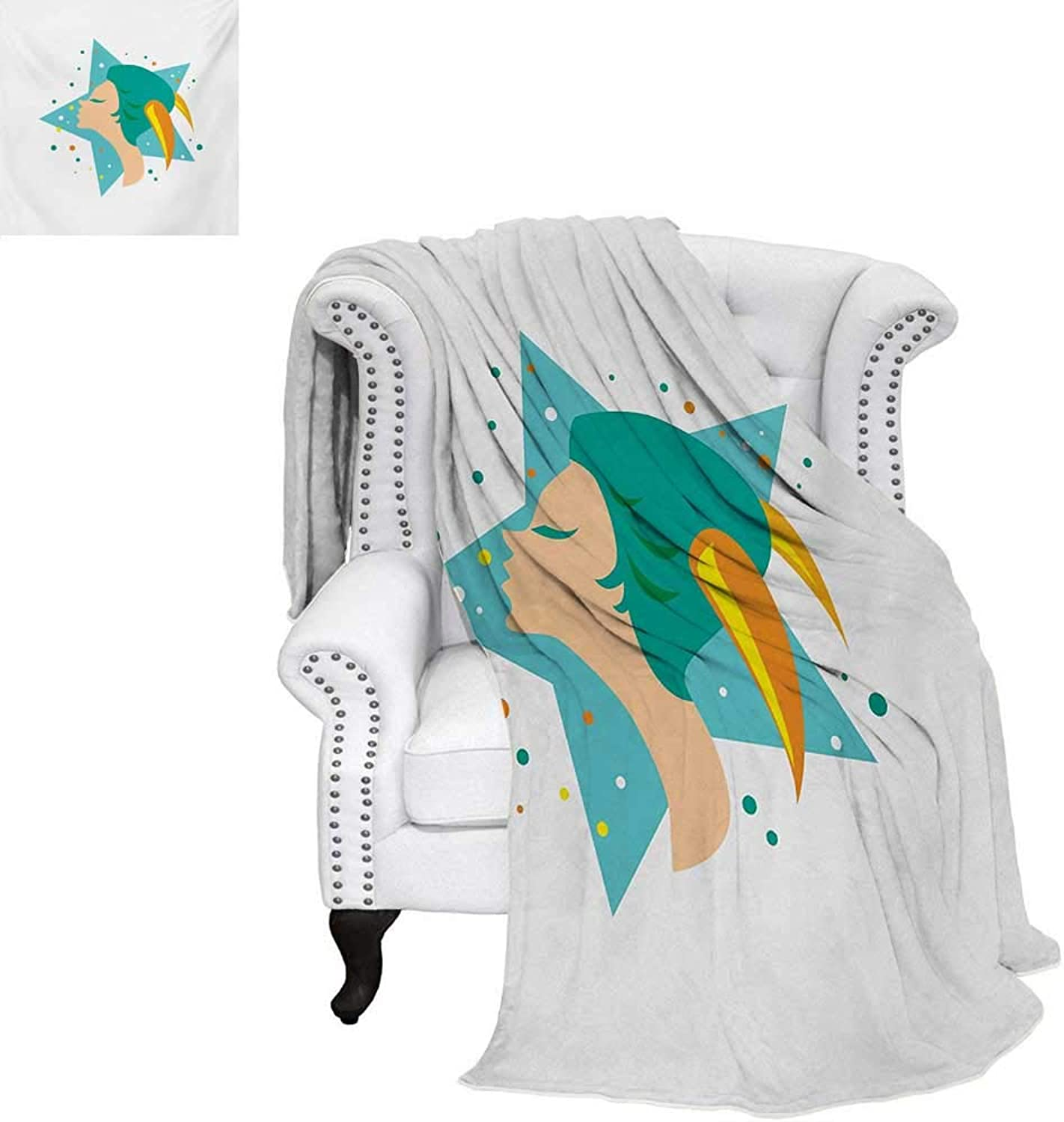 Warmfamily Zodiac Capricorn Oversized Travel Throw Cover Blanket Cartoon Woman Horns on a Giant Stars colorful Dots Background Super Soft Lightweight Blanket 62 x60  Multicolor