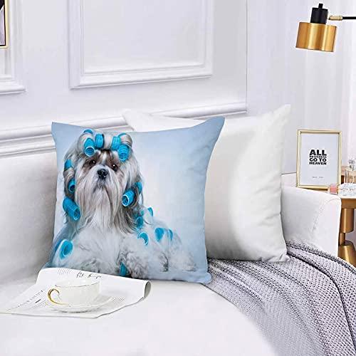 Lilatomer Funda de algodón 45 x 45 cm Shih tzu Perro con rulos Sofá Throw Cojín Almohada Caso de la Cubierta para Sala de Estar 45x45cm