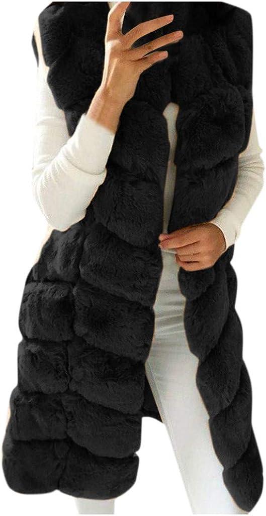 Limsea Faux Fur Gilet Vest for Women Sleeveless Winter Warm Long Coat Jacket Solid Fleece Fluffy Parka Outwear