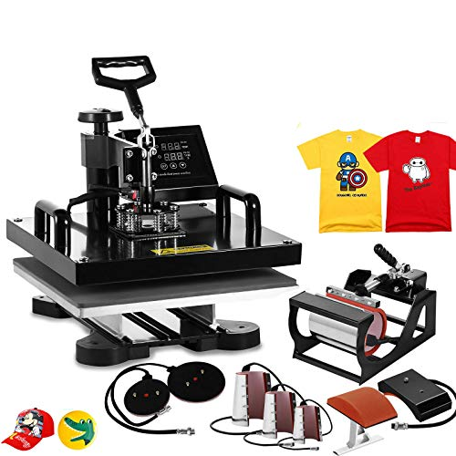 8IN1 15 x 15 Inch Heat Press Machine Heat Transfer Machine Multifunctional Swing-Away Heat Press for T Shirts Hat Mug Plate