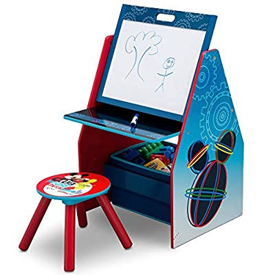 Delta Children Kids Easel and Play Station – Ideal for Arts & Crafts, Drawing, Homeschooling and More, Disney Mickey Mouse by AmazonUs/DEMQX