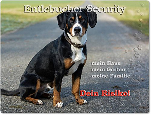 Merchandise for Fans Warnschild - Schild aus Aluminium 20x30cm - Motiv: Entlebucher Sennenhund Security (02)