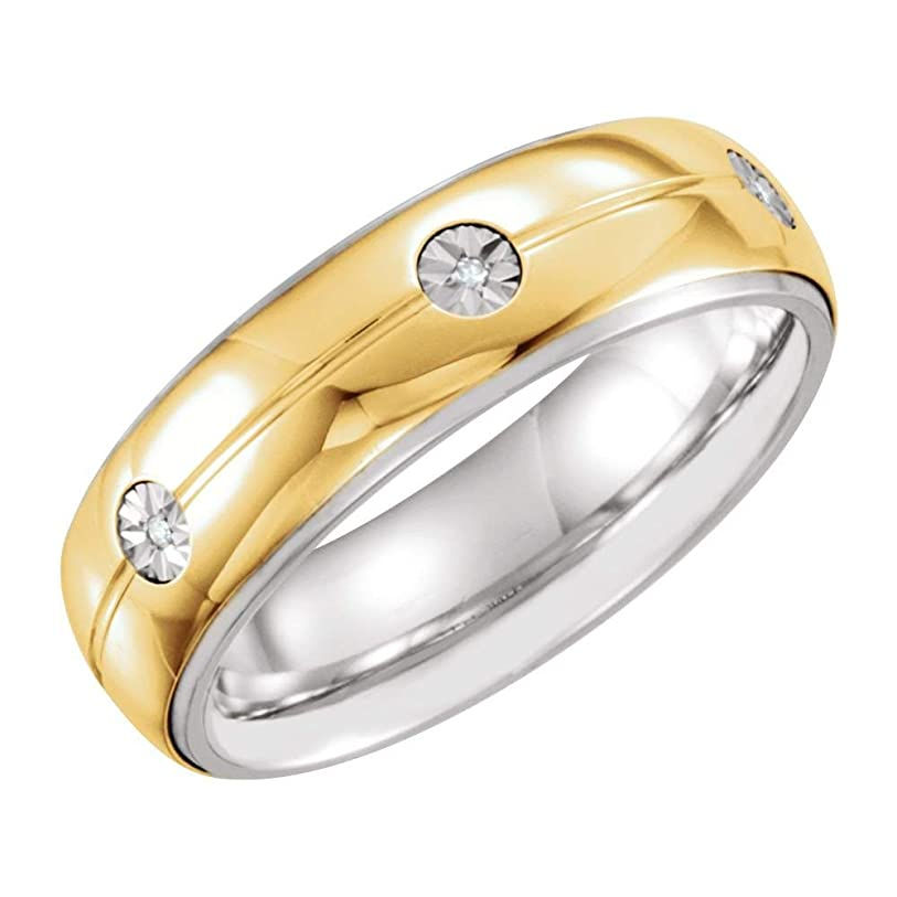 ガロン仕事講義Jewels By Lux メンズ スターリングシルバー&10Kイエローゴールド0.03 CTWダイヤモンドの結婚指輪バンドサイズを7mmの 12.5