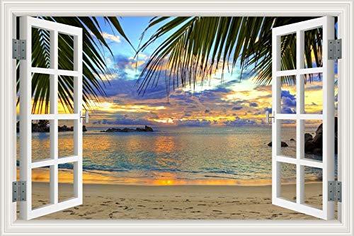 Sunset Sunshine Blue Sky Clouds Beach Sea Waves Coconut Palm Tree Scenery 3D Window View Landscape Wall Sticker PVC Wallpaper Living Room Home Decor