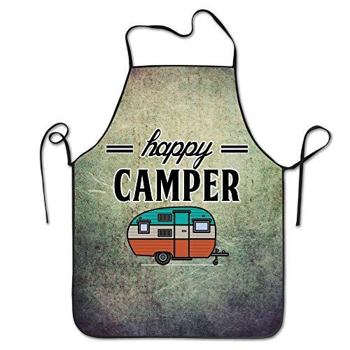 Divertido delantal de cocina para cocinar, babero, feliz, campista, camping al aire libre, durable