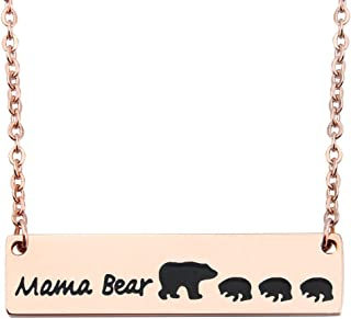 Rose Gold Sweet Mama and Cub Bear Bar Necklace Gift for Mom Grandma Wife