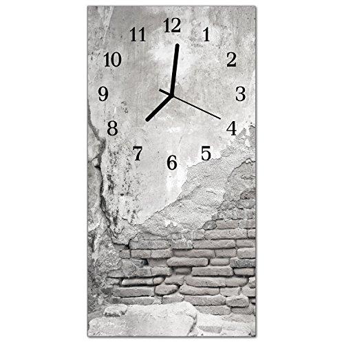 DekoGlas Glasuhr 'Mauer Grau' Uhr aus Acrylglas, eckig große Motiv Wanduhr 30x60 cm, lautlos für Wohnzimmer & Küche