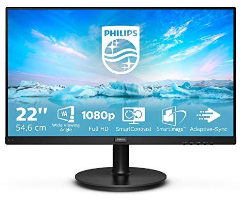 "Philips 221V8 Gaming Monitor 22"" Adaptive sync 75 Hz, VA, Full HD, 4ms, HDMI, VGA, Attacco VESA, Nero"