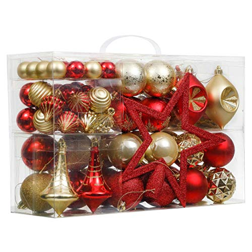 Valery Madelyn クリスマス オーナメント クリスマスボール クリスマスツリー 金色 赤色 高級 豪華 ゴージャス 飾り 飾りつける 多種多様 米国風 100p