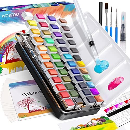WOSTOO Set de Pinturas de Acuarela, 48 Colores Caja de Acuarelas - 3 cepillos de agua-2 Pincel de Nylon-1 Lápiz de dibujo-20 Papeles de acuarela, Portatiles Colores de Acuarela Conjunto Profesionals