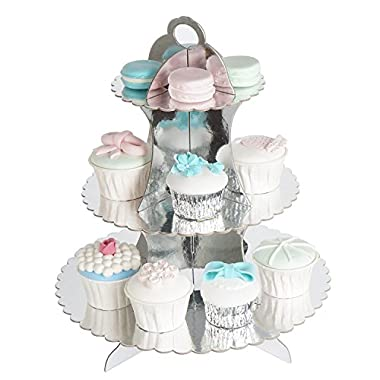 RiscaWin 3-Tier Round Stacked Party Cupcake and Dessert Stand Cupcake Tower Children