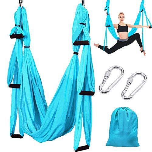 Slosy Columpio Yoga Azul Kit Meditacion Hamaca para Pilates de Tela Acrobacias Material Gym Entrenamiento Aeroyoga Estructura Colgante Techo Trapecio Ejercicio Aereo Soporte Puerta