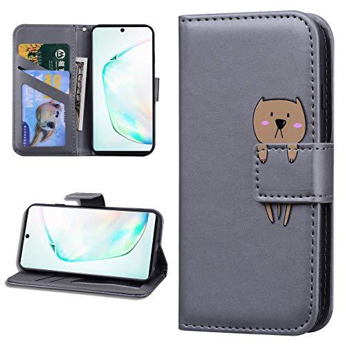 Miagon Tier Flip Hülle für Samsung Galaxy M31,Brieftasche PU Leder TPU Cover Design mit Ständer Kartenfächer Magnetverschluss Handytasche Wallet Case Cover,Grau