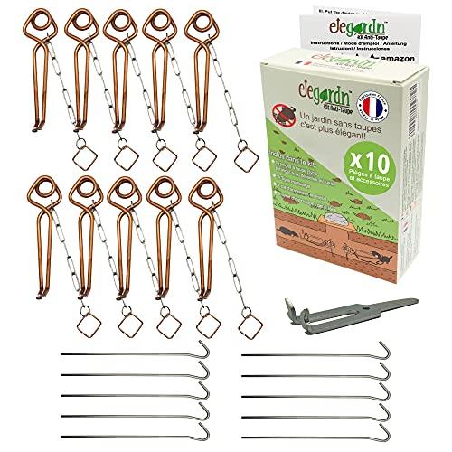Elegardn Kit Complet 10 pièges à Taupe Rats taupiers Campagnol Type putange Rigide Haute qualité utilisé par Les détaupeurs Professionnels fabriqué en France